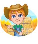 Little Farm Kid Cartoon Vector Character AKA Curtis the Farm's Menace - Shape 3