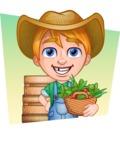 Little Farm Kid Cartoon Vector Character AKA Curtis the Farm's Menace - Shape 4
