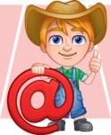 Little Farm Kid Cartoon Vector Character AKA Curtis the Farm's Menace - Shape 6