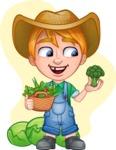 Little Farm Kid Cartoon Vector Character AKA Curtis the Farm's Menace - Shape 7