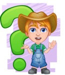 Little Farm Kid Cartoon Vector Character AKA Curtis the Farm's Menace - Shape 8