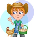 Little Farm Kid Cartoon Vector Character AKA Curtis the Farm's Menace - Shape 9