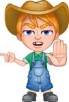 Little Farm Kid Cartoon Vector Character AKA Curtis the Farm's Menace - Direct Attention