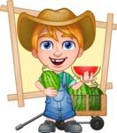 Little Farm Kid Cartoon Vector Character AKA Curtis the Farm's Menace - Shape 10