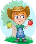 Little Farm Kid Cartoon Vector Character AKA Curtis the Farm's Menace - Shape 12