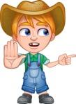 Little Farm Kid Cartoon Vector Character AKA Curtis the Farm's Menace - Direct Attention 2