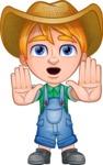 Little Farm Kid Cartoon Vector Character AKA Curtis the Farm's Menace - Stop