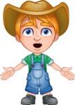 Little Farm Kid Cartoon Vector Character AKA Curtis the Farm's Menace - Stunned