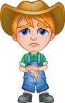Little Farm Kid Cartoon Vector Character AKA Curtis the Farm's Menace - Sad