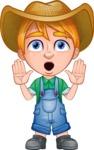 Little Farm Kid Cartoon Vector Character AKA Curtis the Farm's Menace - Shocked