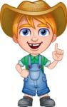 Little Farm Kid Cartoon Vector Character AKA Curtis the Farm's Menace - Attention