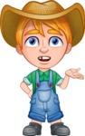 Little Farm Kid Cartoon Vector Character AKA Curtis the Farm's Menace - Confused