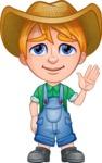 Little Farm Kid Cartoon Vector Character AKA Curtis the Farm's Menace - Goodbye