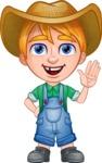Little Farm Kid Cartoon Vector Character AKA Curtis the Farm's Menace - Hello