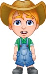 Little Farm Kid Cartoon Vector Character AKA Curtis the Farm's Menace - Blank