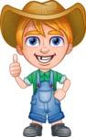 Little Farm Kid Cartoon Vector Character AKA Curtis the Farm's Menace - Thumbs Up