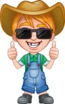 Little Farm Kid Cartoon Vector Character AKA Curtis the Farm's Menace - Sunglasses