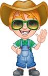 Little Farm Kid Cartoon Vector Character AKA Curtis the Farm's Menace - Sunglasses 2