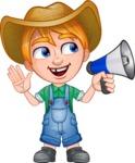 Little Farm Kid Cartoon Vector Character AKA Curtis the Farm's Menace - Loudspeaker