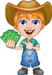 Little Farm Kid Cartoon Vector Character AKA Curtis the Farm's Menace - Show me the Money