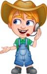 Little Farm Kid Cartoon Vector Character AKA Curtis the Farm's Menace - Support 2