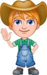 Little Farm Kid Cartoon Vector Character AKA Curtis the Farm's Menace - Wave