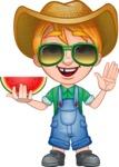 Little Farm Kid Cartoon Vector Character AKA Curtis the Farm's Menace - Sunglasses and watermelon