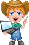 Little Farm Kid Cartoon Vector Character AKA Curtis the Farm's Menace - Laptop