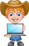 Little Farm Kid Cartoon Vector Character AKA Curtis the Farm's Menace - Laptop 1