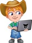 Little Farm Kid Cartoon Vector Character AKA Curtis the Farm's Menace - Laptop2