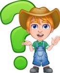 Little Farm Kid Cartoon Vector Character AKA Curtis the Farm's Menace - Question mark