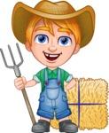 Little Farm Kid Cartoon Vector Character AKA Curtis the Farm's Menace - Pitchfork