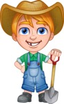 Little Farm Kid Cartoon Vector Character AKA Curtis the Farm's Menace - Shovel 1