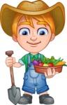 Little Farm Kid Cartoon Vector Character AKA Curtis the Farm's Menace - Shovel 2