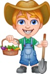 Little Farm Kid Cartoon Vector Character AKA Curtis the Farm's Menace - Shovel 3