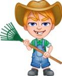 Little Farm Kid Cartoon Vector Character AKA Curtis the Farm's Menace - Rake 1