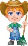 Little Farm Kid Cartoon Vector Character AKA Curtis the Farm's Menace - Rake 2