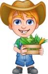 Little Farm Kid Cartoon Vector Character AKA Curtis the Farm's Menace - Box 1