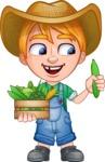 Little Farm Kid Cartoon Vector Character AKA Curtis the Farm's Menace - Box 2