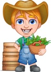Little Farm Kid Cartoon Vector Character AKA Curtis the Farm's Menace - Boxes and basket 1