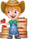 Little Farm Kid Cartoon Vector Character AKA Curtis the Farm's Menace - Boxes 1