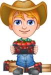 Little Farm Kid Cartoon Vector Character AKA Curtis the Farm's Menace - Boxes 2