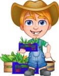 Little Farm Kid Cartoon Vector Character AKA Curtis the Farm's Menace - Boxes and bucket 1
