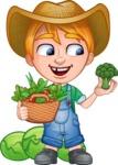 Little Farm Kid Cartoon Vector Character AKA Curtis the Farm's Menace - Basket and vegetables 1