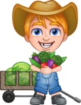 Little Farm Kid Cartoon Vector Character AKA Curtis the Farm's Menace - Cart and vegetables 1