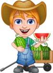 Little Farm Kid Cartoon Vector Character AKA Curtis the Farm's Menace - Cart and watermelon