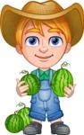 Little Farm Kid Cartoon Vector Character AKA Curtis the Farm's Menace - Watermelon 1