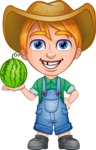 Little Farm Kid Cartoon Vector Character AKA Curtis the Farm's Menace - Watermelon 2