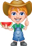 Little Farm Kid Cartoon Vector Character AKA Curtis the Farm's Menace - Watermelon 3