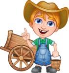 Little Farm Kid Cartoon Vector Character AKA Curtis the Farm's Menace - Cart and bucket 1